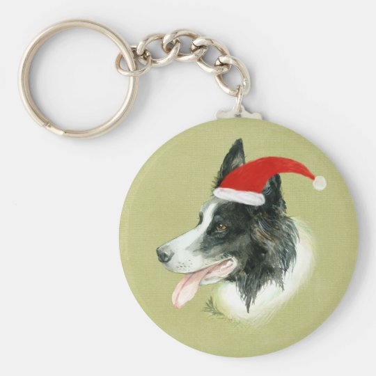 Border Collie Dog w Christmas Santa Hat Keychain