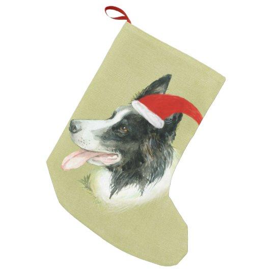 Border Collie Dog w Christmas Santa Hat Small Christmas Stocking
