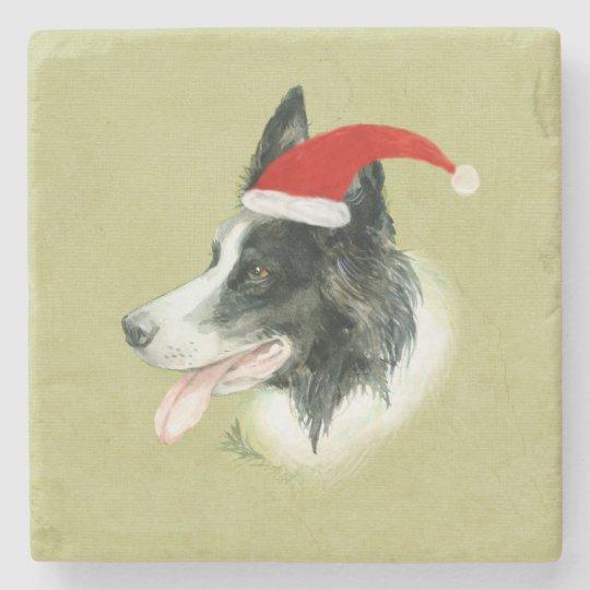 Border Collie Dog w Christmas Santa Hat Stone Coaster