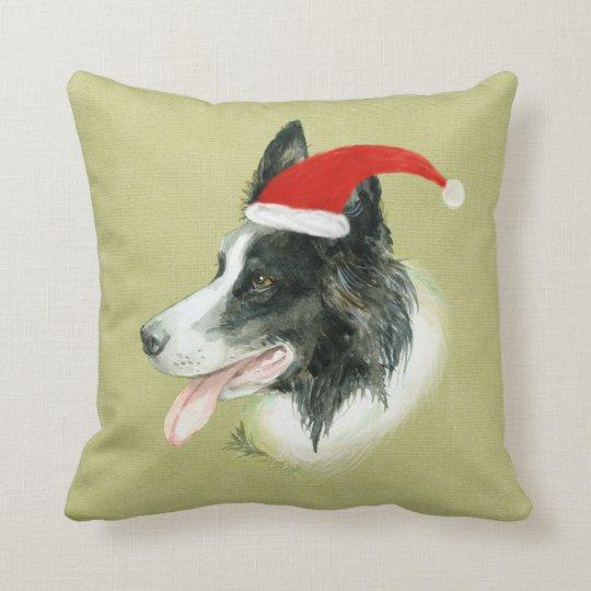 Border Collie Dog w Christmas Santa Hat Throw Pillow