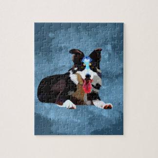 Border Collie Dog Watercolor Art Portrait Jigsaw Puzzle