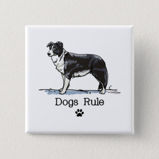 Border collie - dogs rule 2 inch square button