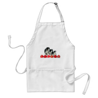 Border Collie Dogs with Red Christmas Ornaments Standard Apron