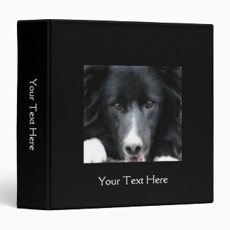 Border Collie Face Dog Vinyl Binder