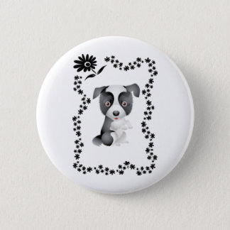 Border Collie Flowers 2 Inch Round Button