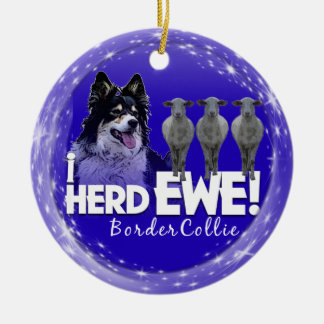 Border Collie i HERD EWE SHEEP CHRISTMAS ORNAMENT