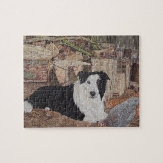 border collie in log shed with chickens portrait puzzles