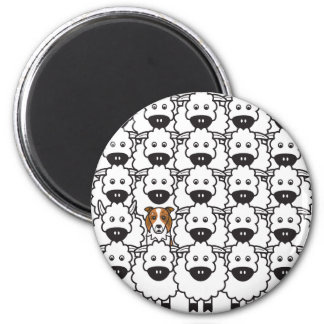 Border Collie in the Sheep 2 Inch Round Magnet