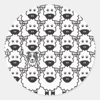 Border Collie in the Sheep Round Sticker