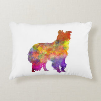 Border collie in watercolor accent pillow