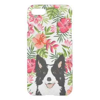 Border Collie iphone case - tropical hawaiian them