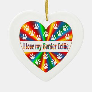 Border Collie Love Ceramic Ornament