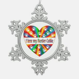 Border Collie Love Pewter Snowflake Ornament