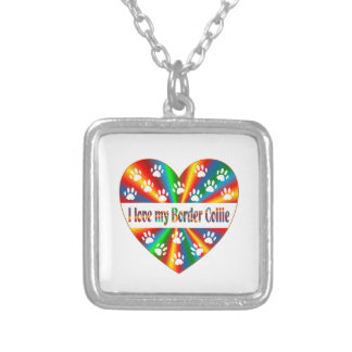 Border Collie Love Silver Plated Necklace