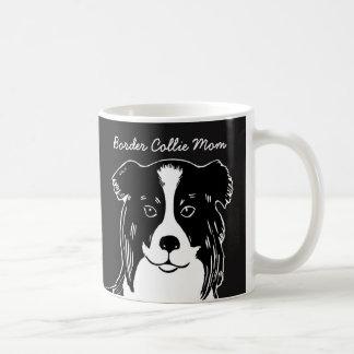 Border Collie Mom Black and White Mug