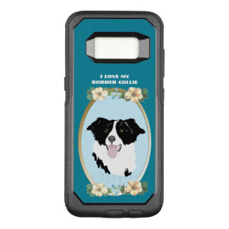 Border Collie on Teal Floral OtterBox Commuter Samsung Galaxy S8 Case