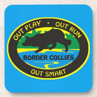 border collie out play coaster
