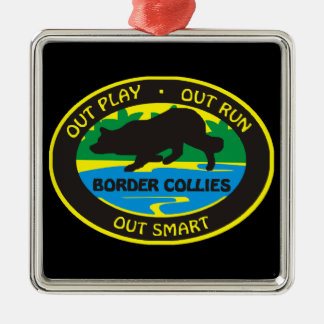 border collie out play metal ornament