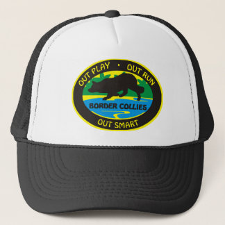 border collie out play trucker hat