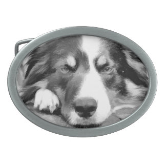BORDER COLLIE OVAL BELT BUCKLE