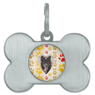 Border Collie Paw Print Love Heart Pet ID Tags