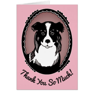 Border Collie Pink & Black Thank You So Much Card
