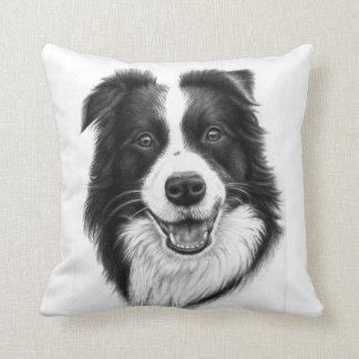 Border collie portrait throw pillow