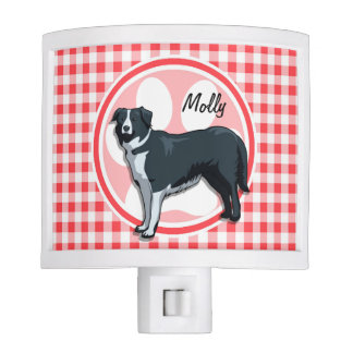 Border Collie; Red and White Gingham Night Lites