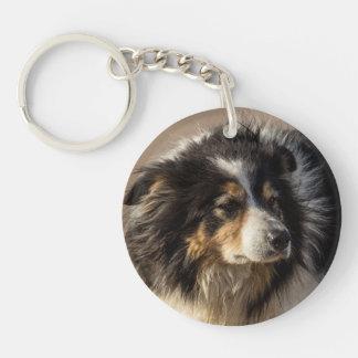 Border Collie Single-Sided Round Acrylic Keychain