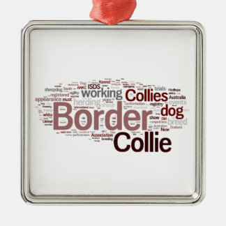 Border Collie Square Ornament