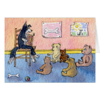 Border Collie Tells Stories to Teddy Bears, Card