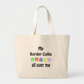 Border Collie Walks Design Large Tote Bag