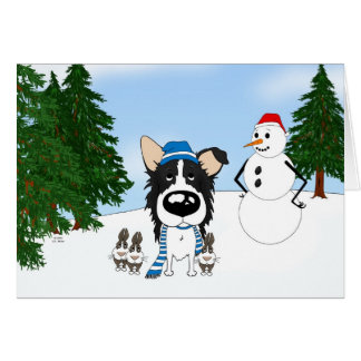 Border Collie Winter Scene Card