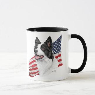 Border Collie with Flag Mug