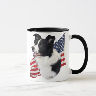 Border Collie with Flag Mug