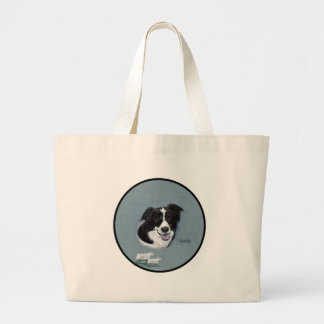 Border Collie with Sheep Large Tote Bag