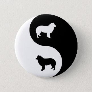 Border Collie Yin Yang 2 Inch Round Button