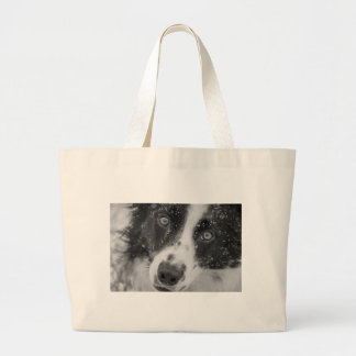 Border Collie's First Snow Large Tote Bag