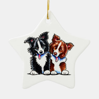 Border Collies Little League Ceramic Ornament