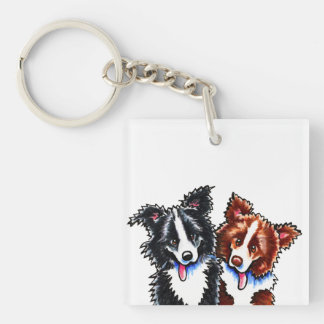 Border Collies Little League Keychain