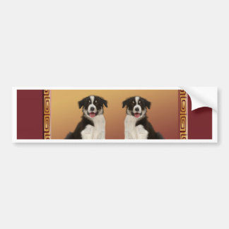 Border Collies on Asian Design Chinese New Year Bumper Sticker