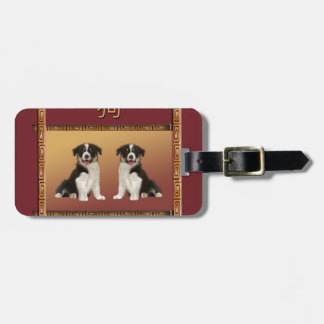 Border Collies on Asian Design Chinese New Year Luggage Tag