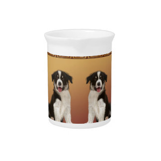 Border Collies on Asian Design Chinese New Year Pitcher