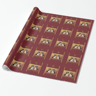 Border Collies on Asian Design Chinese New Year Wrapping Paper