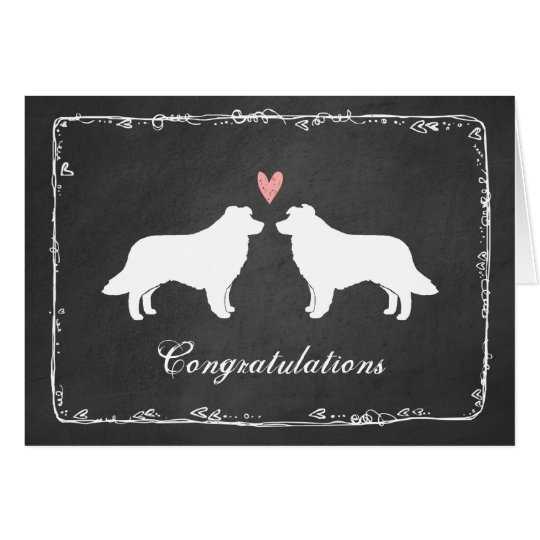 Border Collies Wedding Congratulations Card
