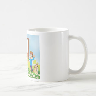 Border design with muslim couple coffee mug