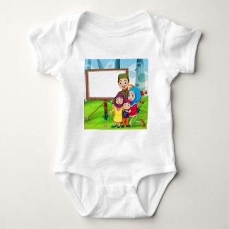 Border design with muslim family baby bodysuit