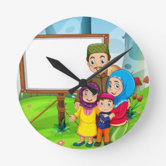 Border design with muslim family clock