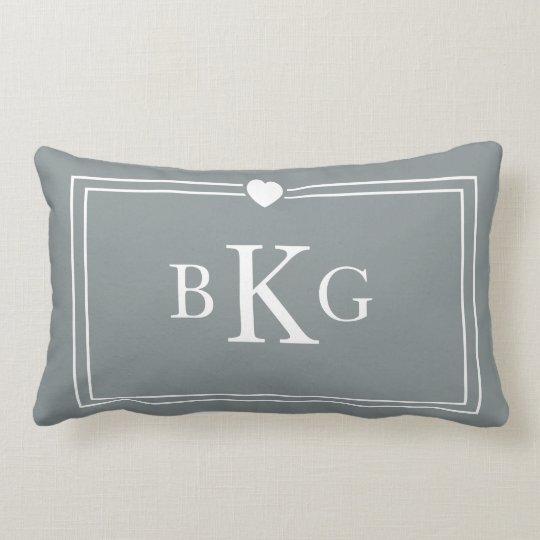Border Frame Heart Pillow | Slate Grey