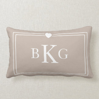 Border Frame Heart Pillow   Taupe